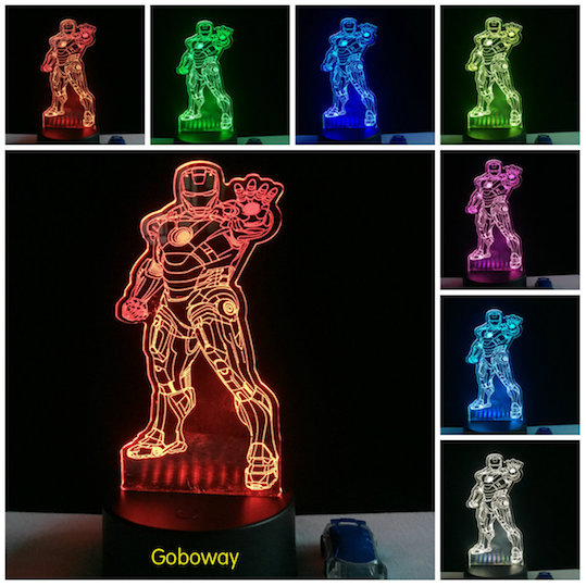 3D-Illusion Colorful Marvel Iron Man Acrylic nightlight led home table base lamp Child Gift