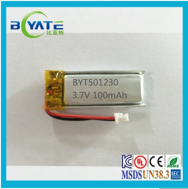 Mini size 3.7v 100mah lipo MP3/MP4 player battery