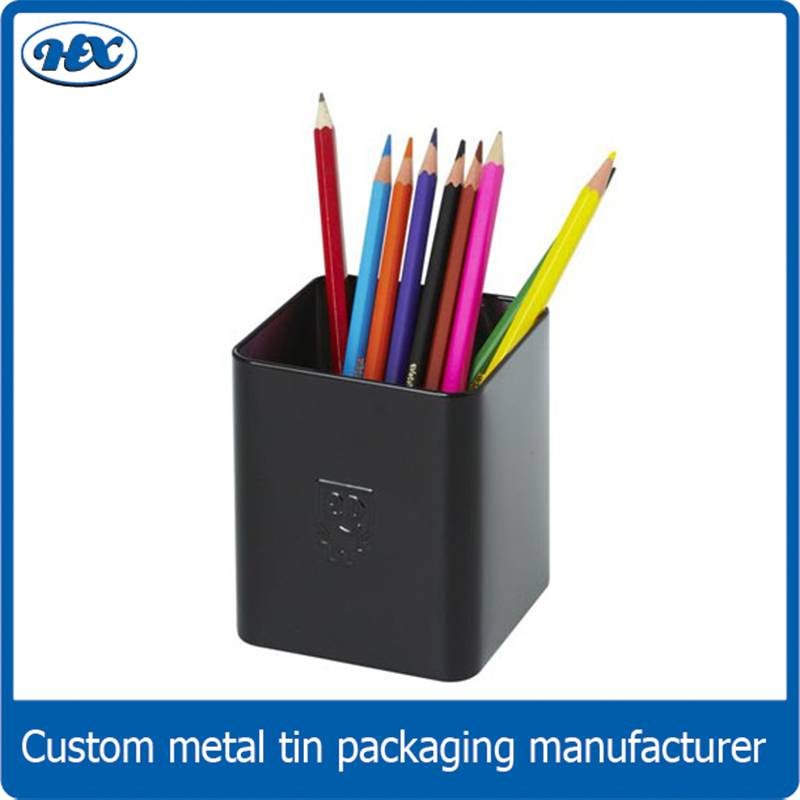 Metal tinplate round/rectangular pen holder