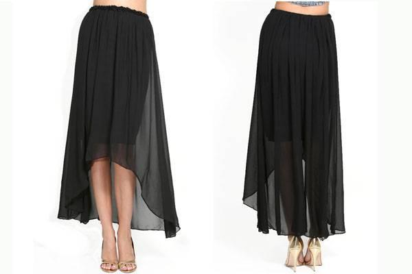 Ladies stylish elastic waist black long chiffon skirt