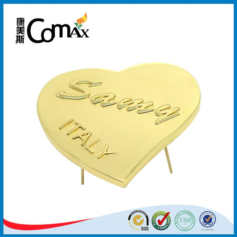 Heart shape custom embossed metal brand tag