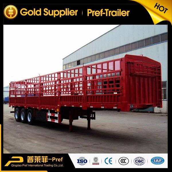 50t 3 axles stake truck trailer/fenced livestock semi trailer