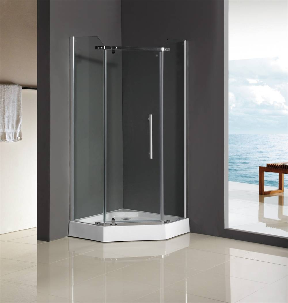 china supplier diamond corner glass shower enclosure