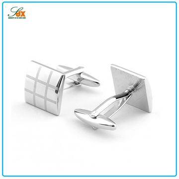 Factory Price Stylish Metal Plated Silver Mens Cufflinks
