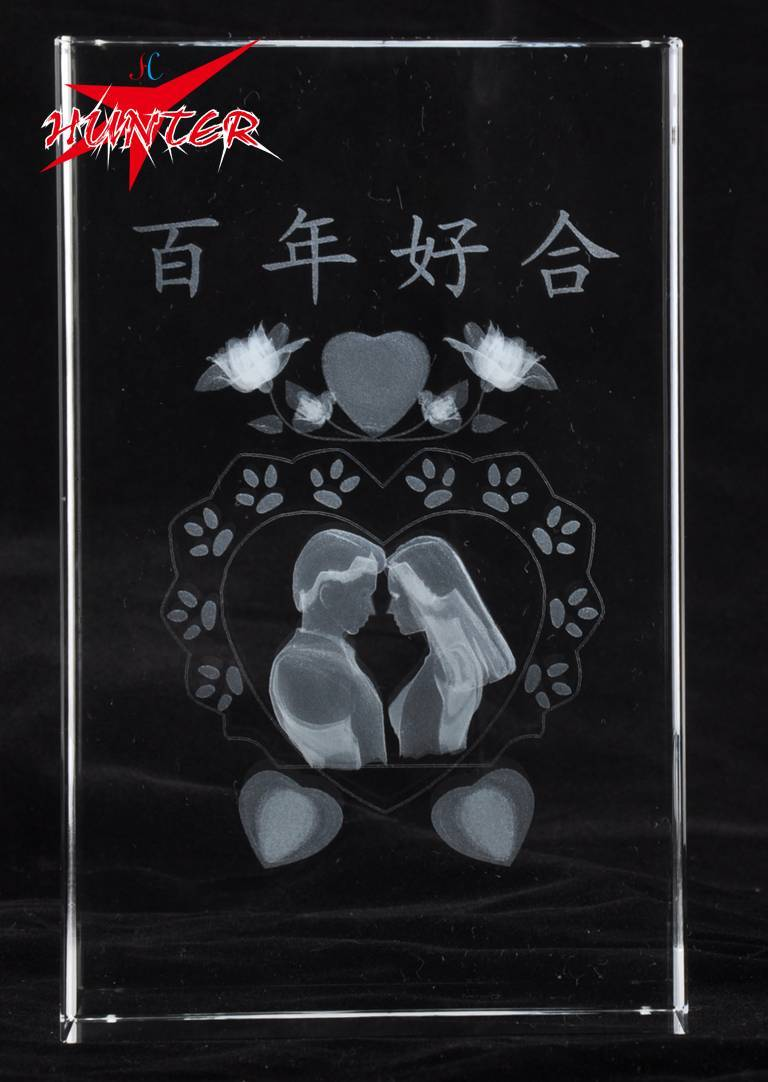 K9 Marterial 3D Laser Wedding Decoration Top Crystal Wedding Decoration & Gift