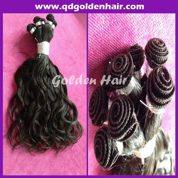 Natural Color 100% Unprocessed Curly European Virgin Hair Hand Tied Wefts
