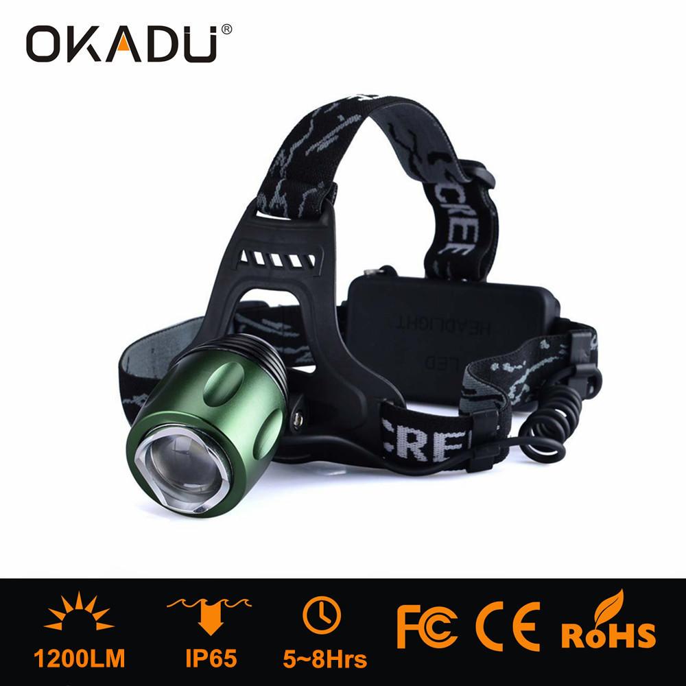 OKADU HT06 Long Runtime 8 Hrs 18650 Li-ion Battery Cap Lamps Cree XM-L T6 Led Focus Headlamp