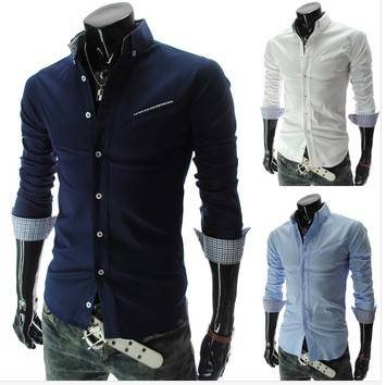 New Mens Fashion Designer Cross Line Slim Fit Dress man Shirts Tops Western Casual shirt
