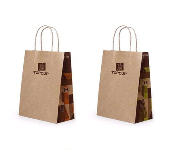 Hot Sale New Design White Kraft Paper Packaging Bag