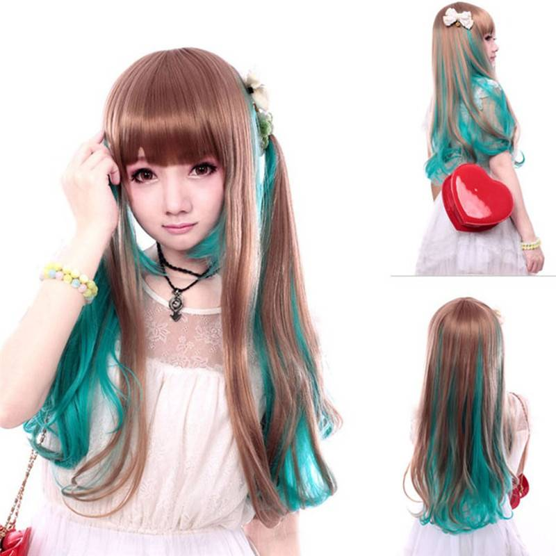 Harajuku Anime Blue Brown Full head Ombre Wig,anime hairstyles wig in real life