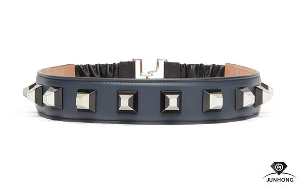 Double color rivet smooth leather waist belt