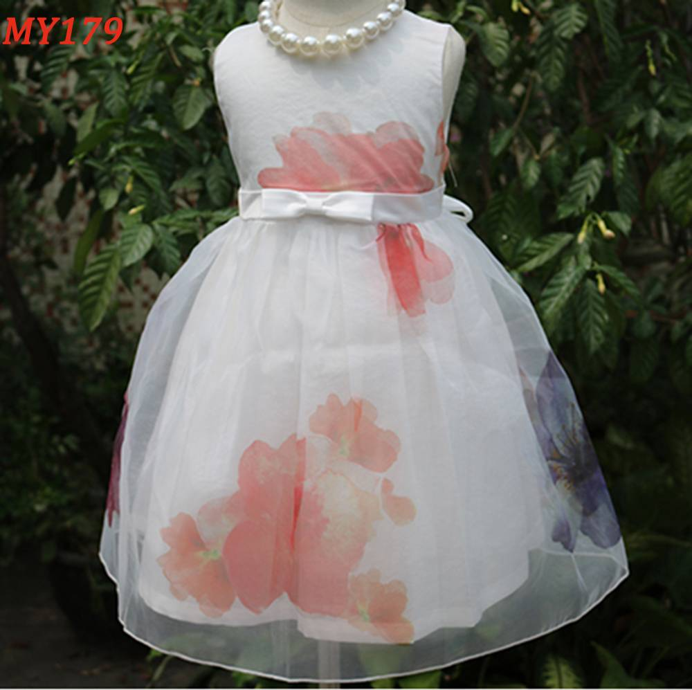 Snow white bow belt a-line party girl dress clothing kids prom dress