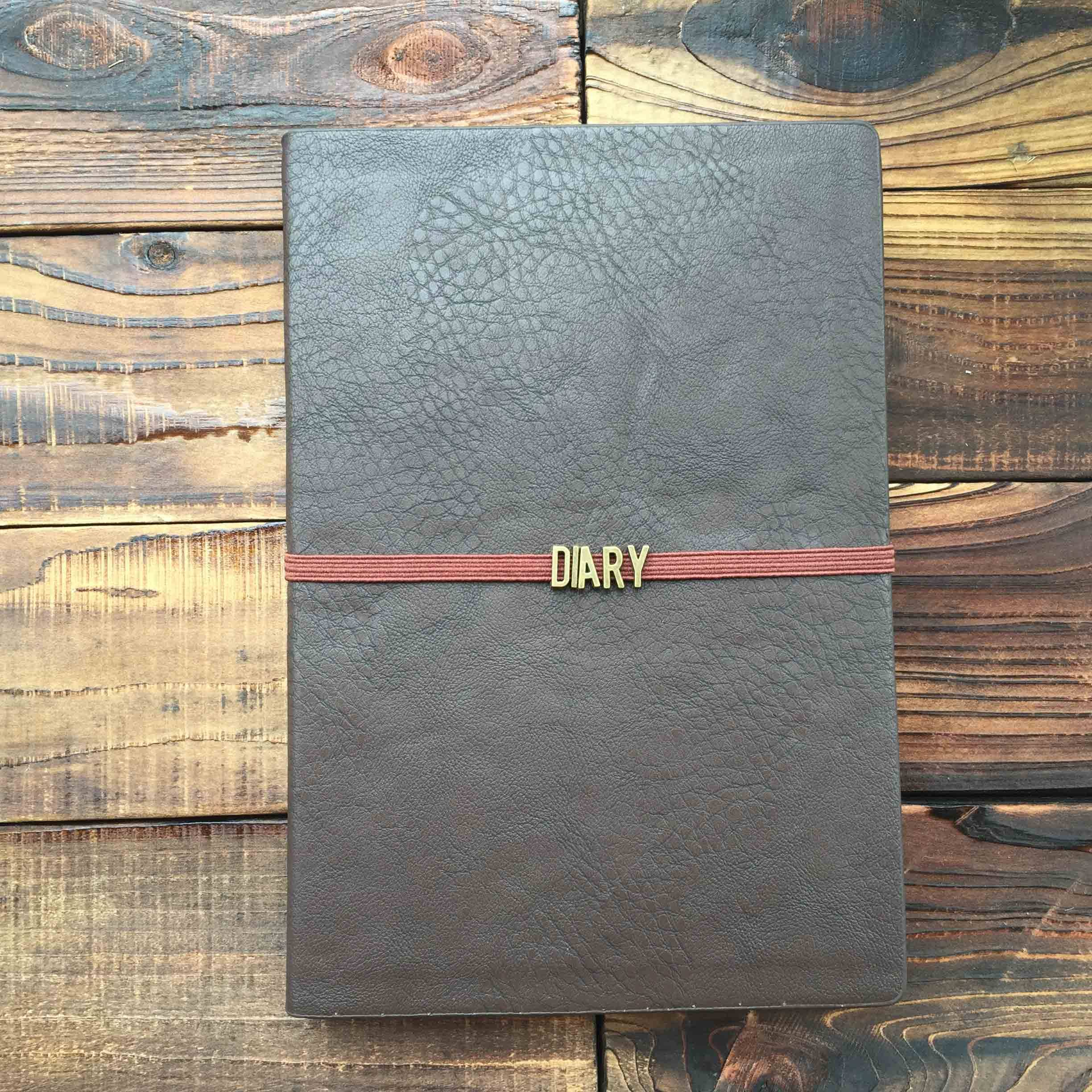 brown pu leather dairy notebooks with elastic strap