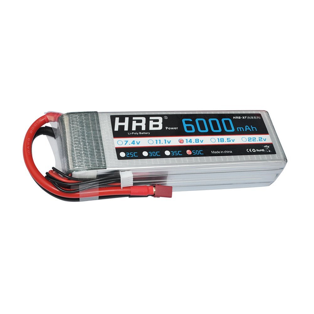 HRB 4S 6000mAh 14.8V 50C-100C RC Lipo Battery with T plug For RC Airplane, RC Helicopter, RC Car