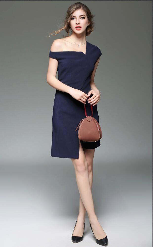 New Design England Style Slim A-line Casual Dress One Shoulder Asymmetrical Hem Split Grace Lady Dre
