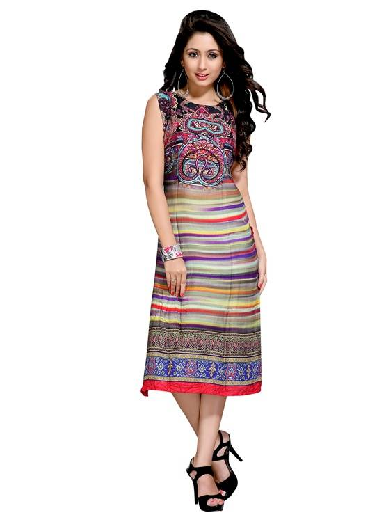 Rayon multicolour colour  Embroidered kurti  VTVIC-036
