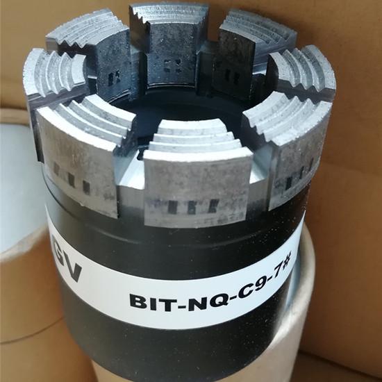 Diamond impregnated bits, impregnated core bits, rock coring bits, diamond drill bits, bits NQ HQ