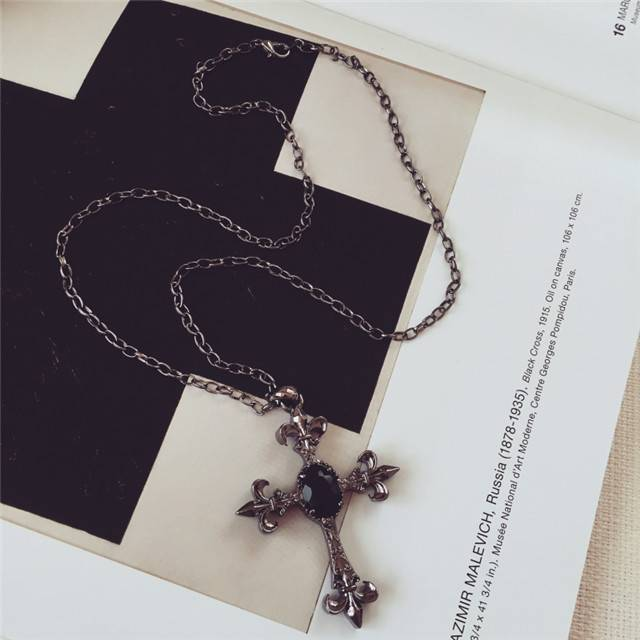 exaggerated long cross necklace vintage jewelry for sweater ornaments necklace