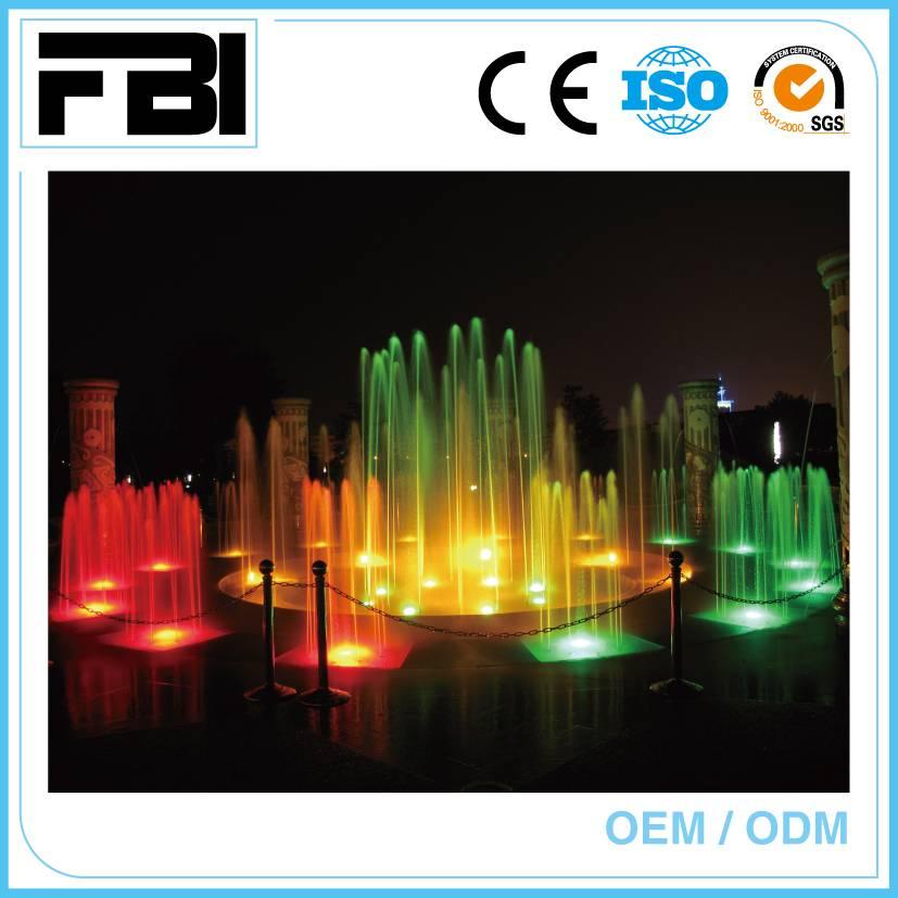 programmed dancing music fountain, plaza fountain, outdoor fountain