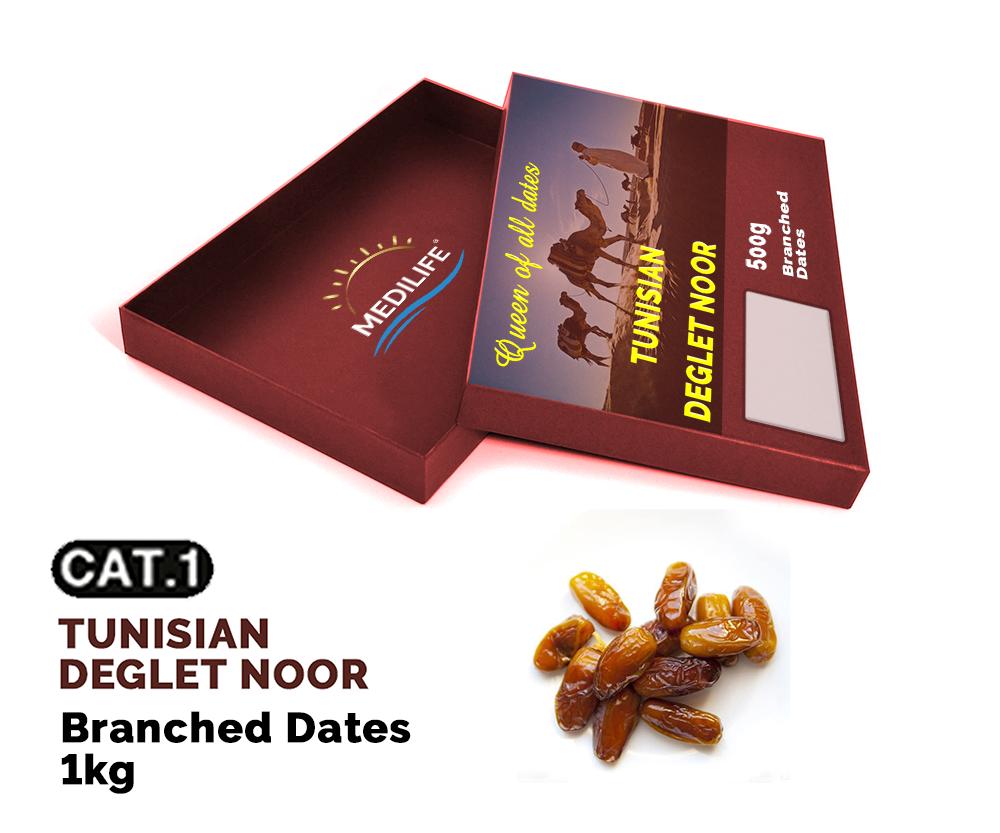 Branched Deglet Noor Dates 1 kg Carton