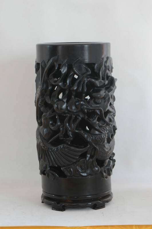 Shandong Longshan black pottery pottery ornaments ancient ceramic handicraft, relief hollow