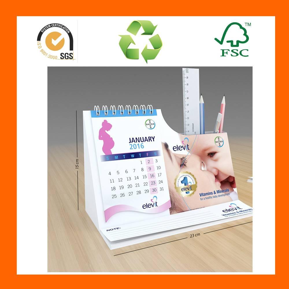 2016 Plain Dyed Dry Erase Triangle Desk Calendar Pen Holder