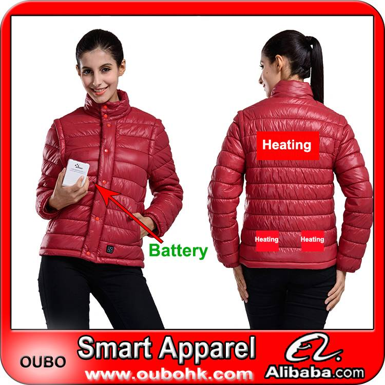 Women's Down Jacket with battery system electric heating clothing warm OUBOHK