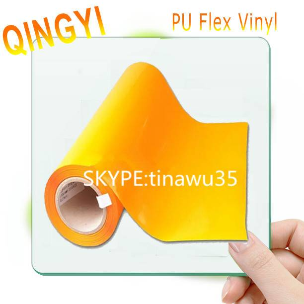Qingyi middle yellow soft PU heat transfer vinyl with wash-resistance