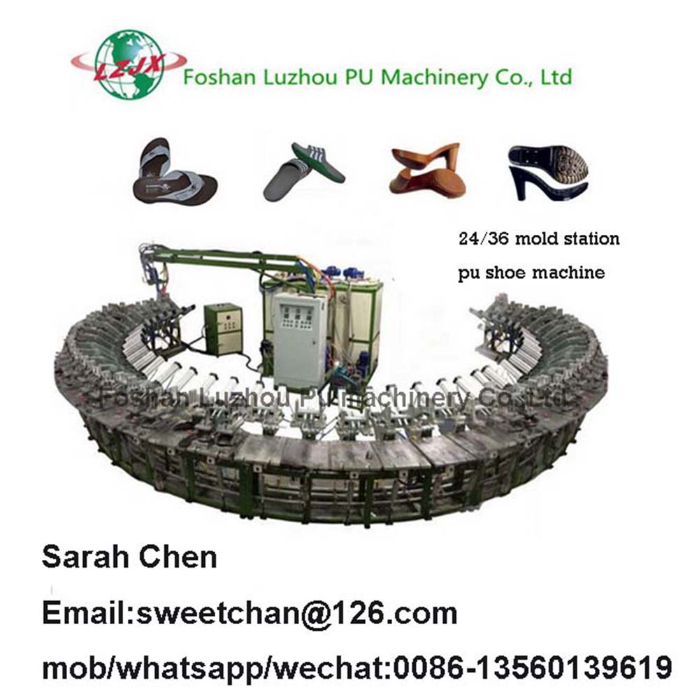 24 mold station DIP polyurethane shoes molding rotary production line