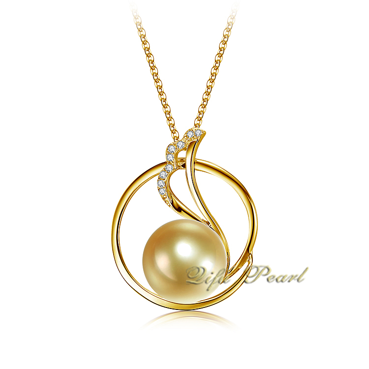 14K Yellow Gold Golden Southsea Pearl Pendant