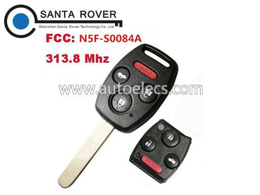 313.8Mhz Auto Remote Key For Honda Straight Key Fob 3+1 Button N5F-S0084A
