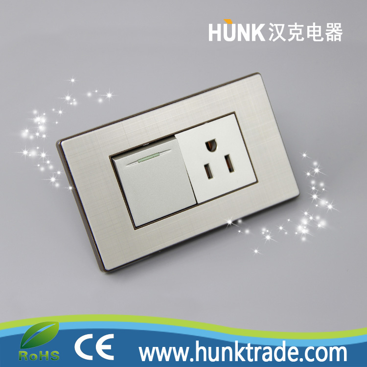 Grey stainless steel Panel Material INTERRUPTOR TOMACORRIENTE socket