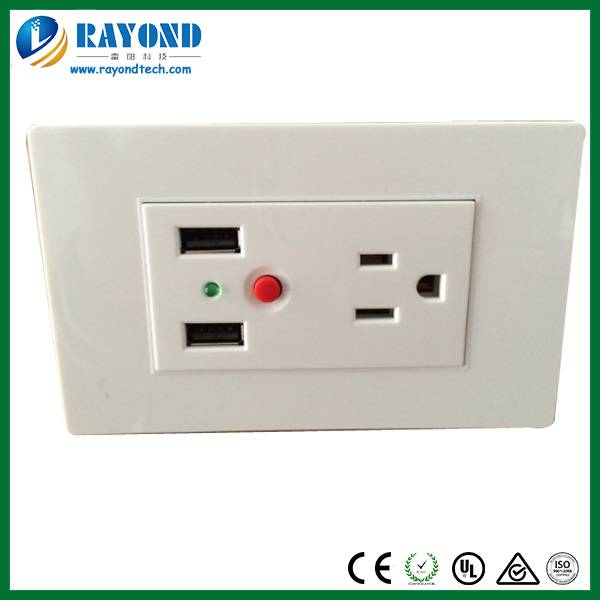 US Standard American 15A/120V Wall Power Outlet with 5V/2.1A Duplex USB Charger
