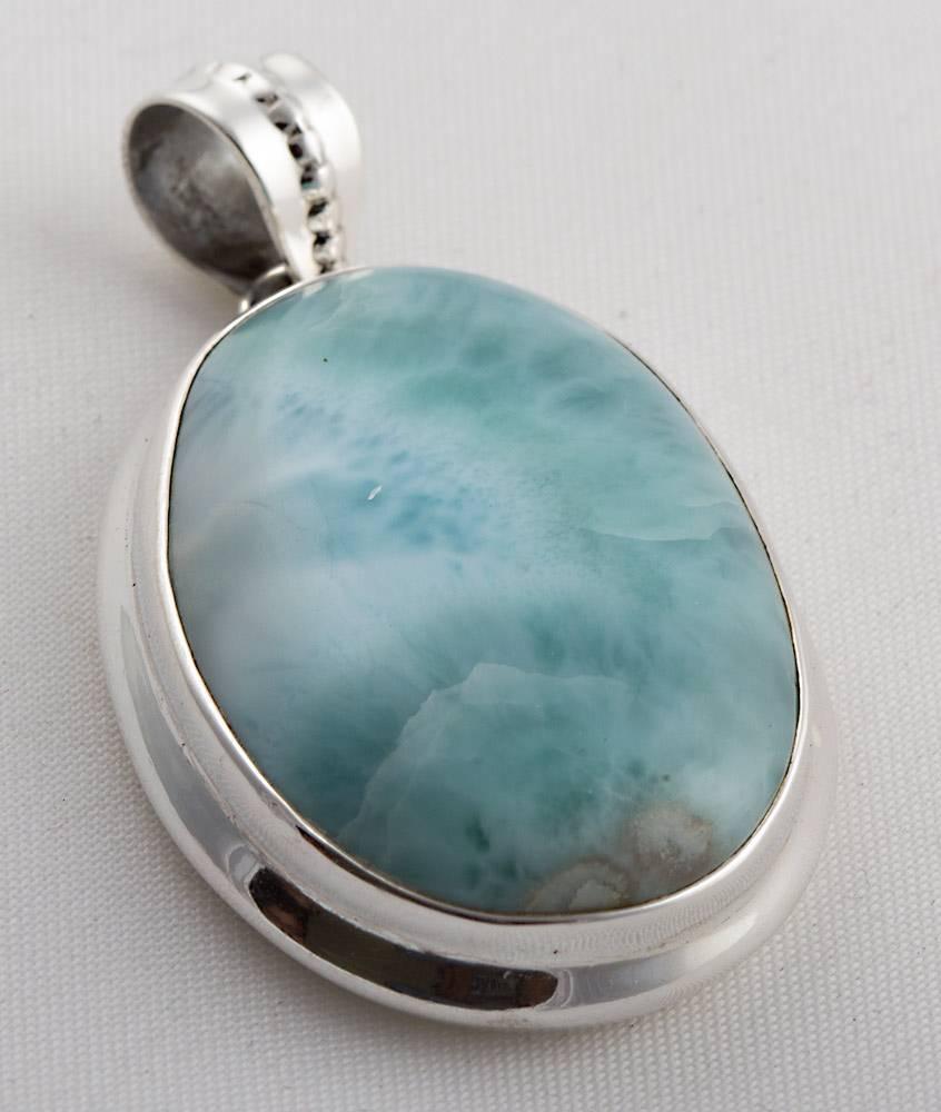 92.5 sterling silver Larimar pendant