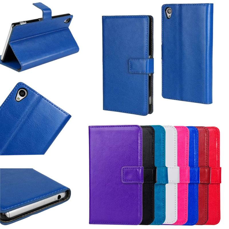 Wallet Leather Case With Credit Card Slots Stand Magnetic Flip Skin Cover Pouch for Xperia Z4 SZ4C07