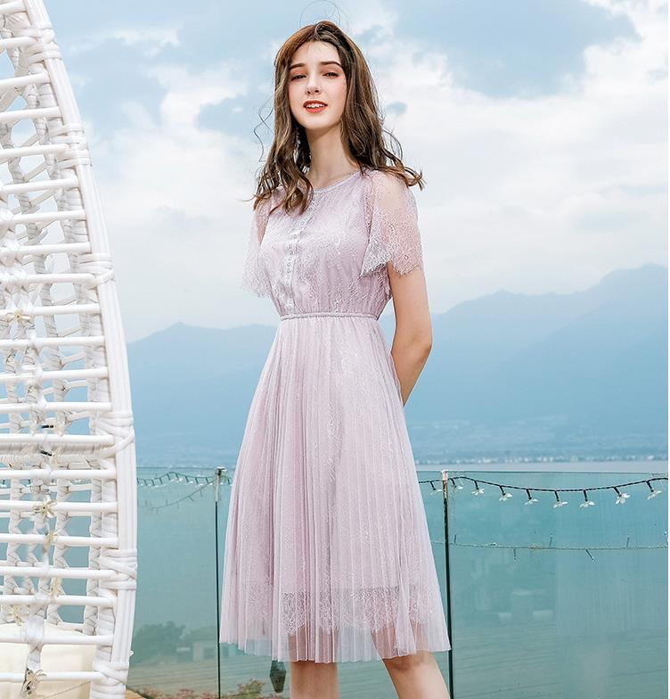 Solid color lace dress 2019 summer new style
