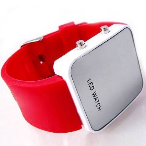 Silicone Strap Red LED Digital Sports Watch