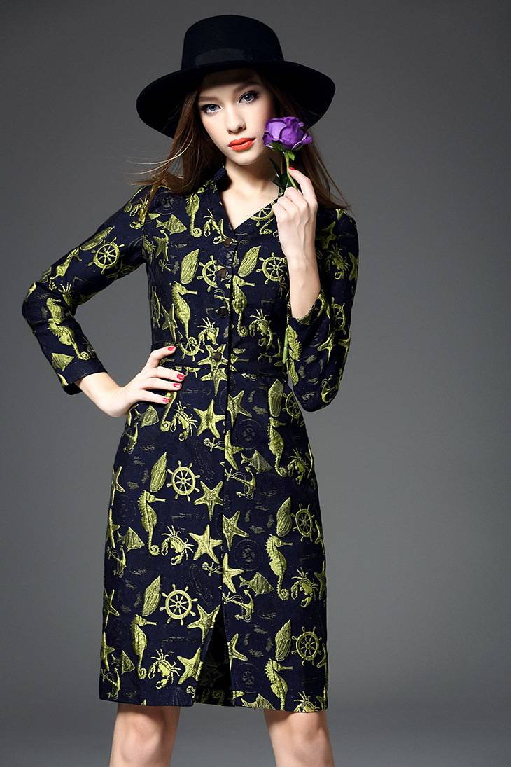 2015 europea hot sale v-neck embroider long sleeve dress