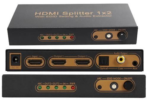 2 Port HDMI Splitter with EDID Setting&ARC&Audio extractor