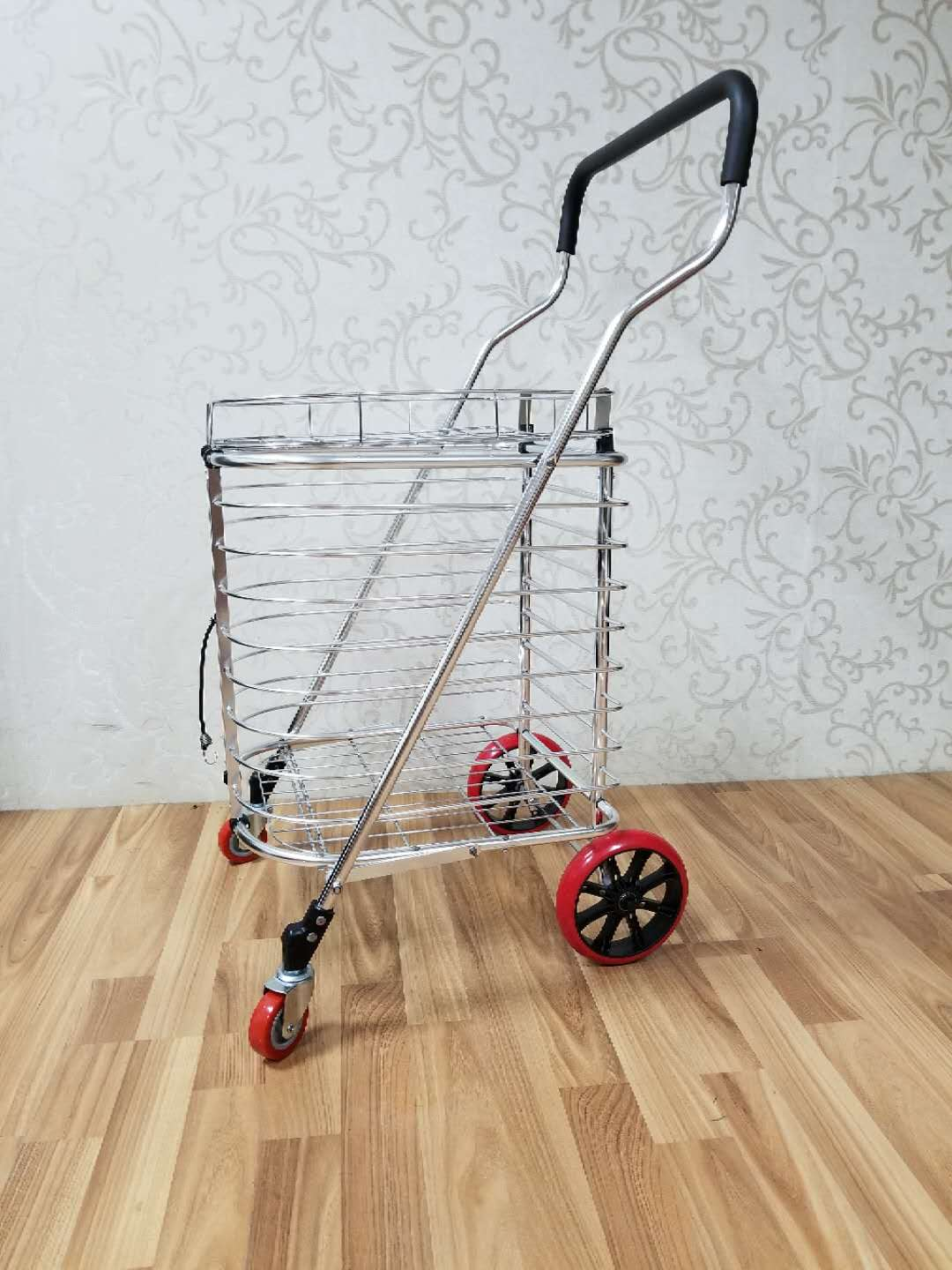 Aluminum alloy shopping cart with cover,Portable folding hand cart,Large capacity shipping trolley