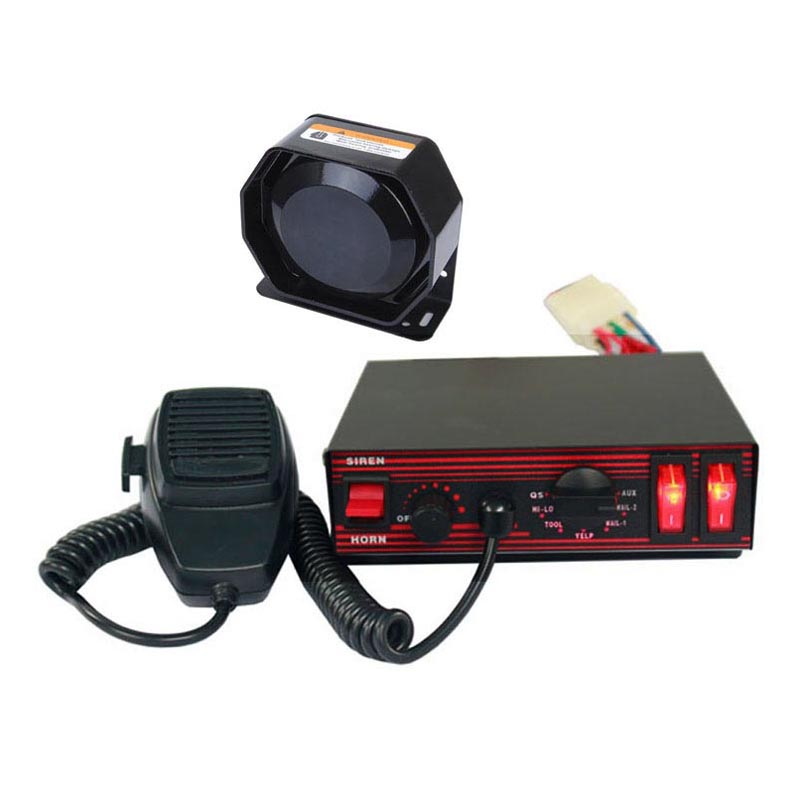 100W Wired Electronic Siren Bundle with Speaker Microphone 8 warning tones of Police Fire Vehilces