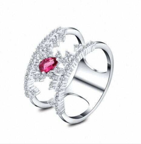 Fashion style,wholesale plated jewelry ring,red gemstone,cheap price