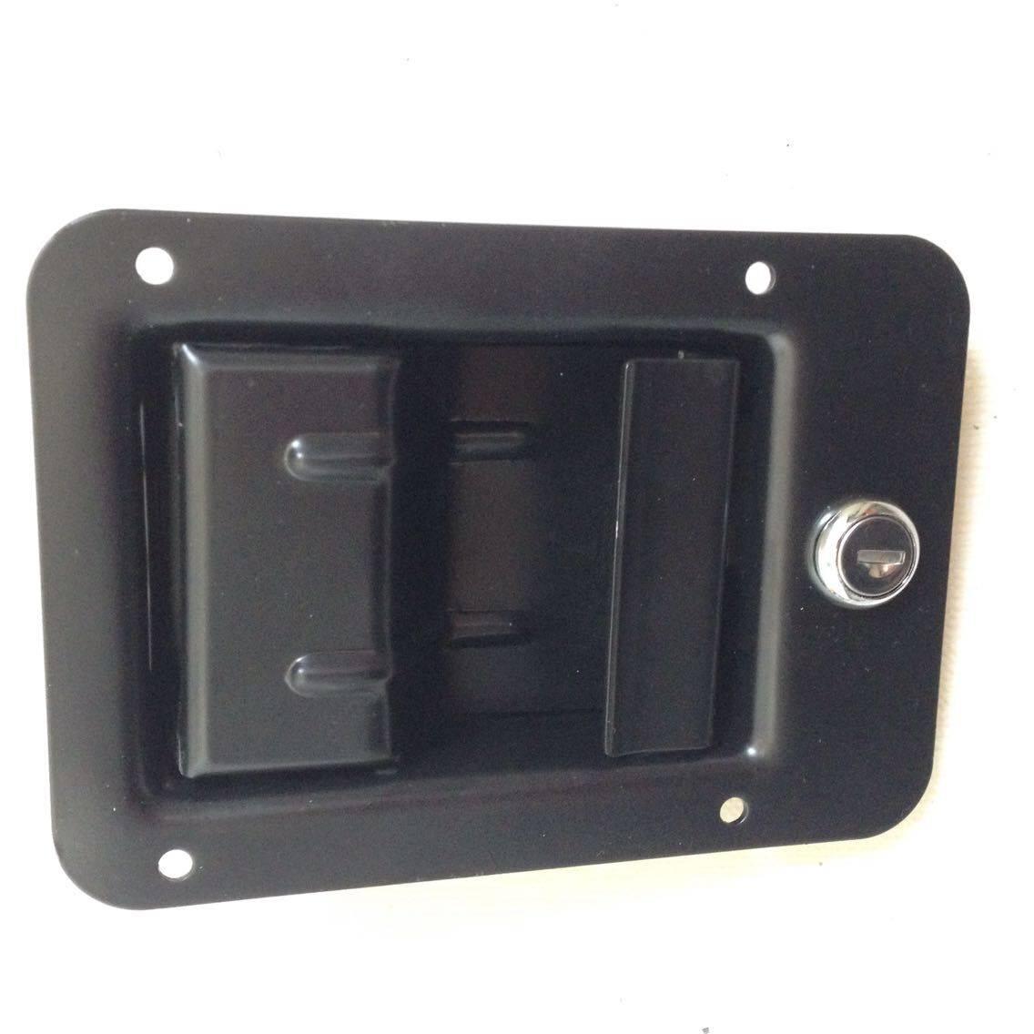 Black coated flush mount door paddle handle lock paddle latch