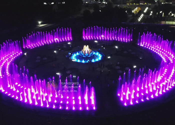 Intractive Outdoor Musical Running Water Fountain Dry Deck Fountain with Colorful LED Lights For Fun