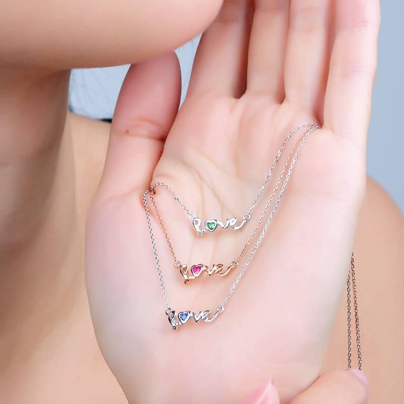 Love Design 14K Gold Sapphire Pendant Necklace for Women Fine Jewelry