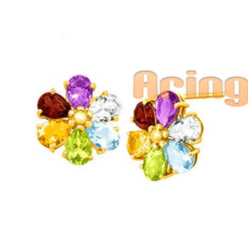 Wholesale 18k Gold Jewelry Multi gemstones earrings solid gold jewelry