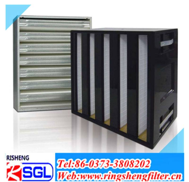 hepa V-type pleated air purifier filter