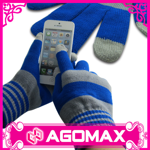 Custom knitted gloves acrylic touch screen gloves for mobile phone