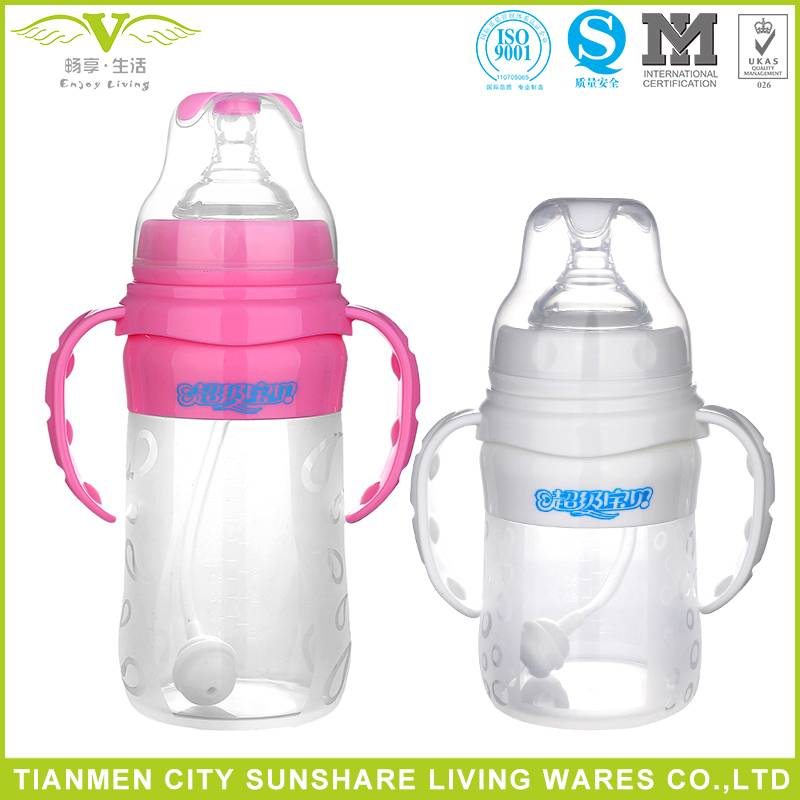 BPA Free Food Grade Liquid Silica Gel Baby Feeding Bottles with handle