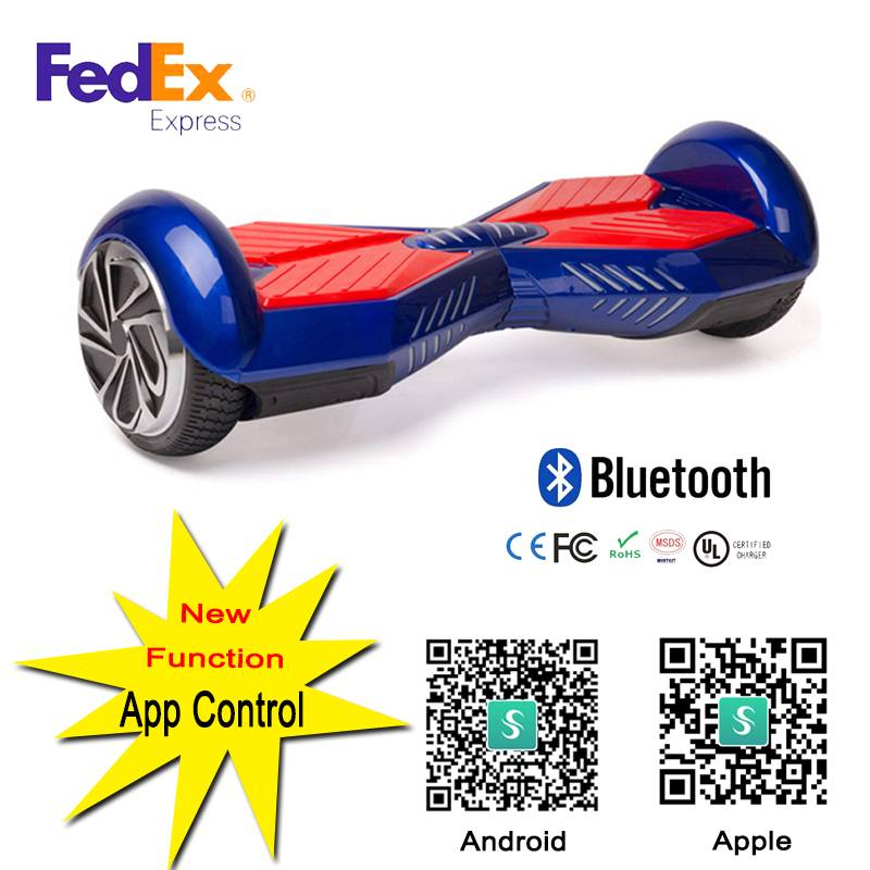 2016 Hoverboard Electric Scooter Black+Red Smart Two Wheel Balance With Bluetooth Speaker Remote Fed